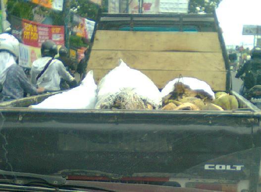 Mobil penjual kelapa muda untuk membuang limbah.