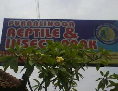 Papan nama taman reptil Purbalingga.