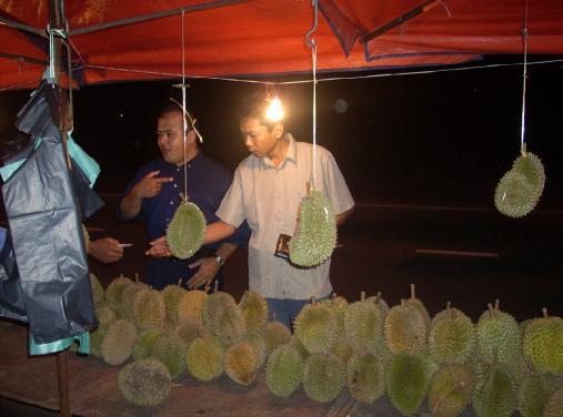 Durian digantung pakai tali plastik.