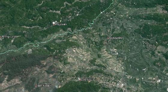 Situasi persawahan dan kebun sedap malam di daerah Grabag (Gambar dari Google Earth)