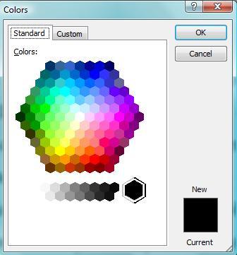 Pilihan warna standar di komputer.